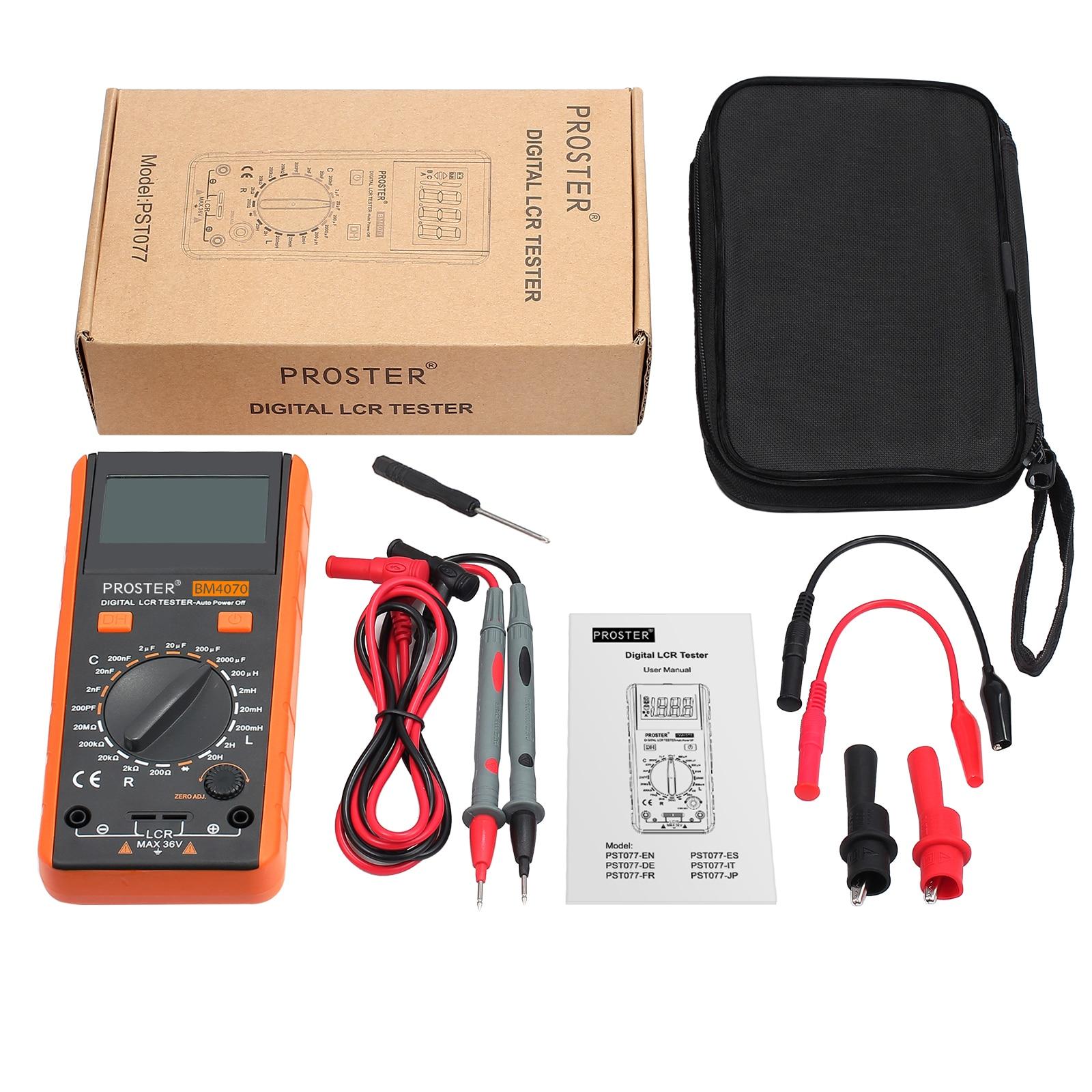 Proster-multímetro Digital LCR, Kit de herramientas DM4070 para inductancia, resistencia de capacitancia, medidor de medición con pantalla LCD