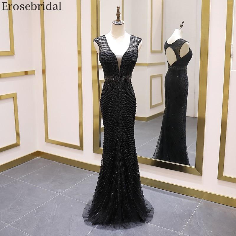 Erosebridal Black Mermaid Prom Dress Long Open Back 2020 Evening Dress Long Formal Women Evening Gown Luxury Beaded Sleeveless