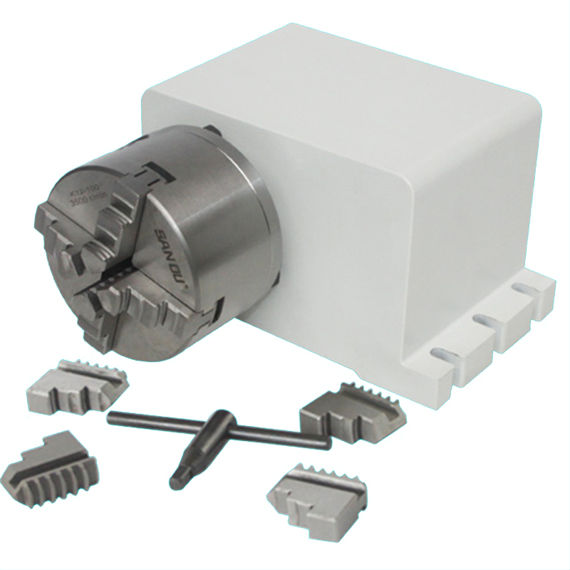 3 4 Jaw 4th Rotary A Axis 86 Stepper Motor Chuck 6:1 Dividing Head For CNC Router Engraver Engraving Milling Machine
