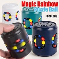 Rompecabezas de arco iris mágico para niños y adultos, juguete creativo con hoyuelos simples, rompecabezas clásico giratorio, cubo sensorial