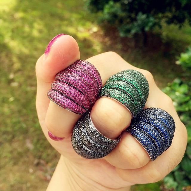 missvikki Indian Dubai Big Fingers Ring for Women Monaco Designer Multicolor Jewelry With Full Cubic Zirconia Top Quality