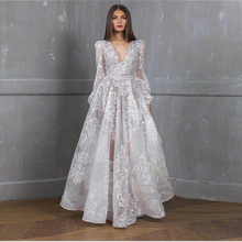 2019 Explosion Models Autumn Womens Sequin Embroidery Dress V-neck Long-sleeved Lace Floor-length Empire A-line Full Vestidos