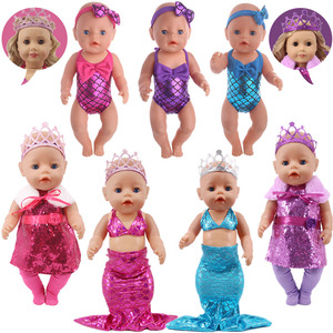 Doll Clothes Mermaid Unicorn Flamingo Swimsuit+Free Bow Hair Band For 18 Inch American&43 Cm Baby New Born Girl`s Toy Generation(China)