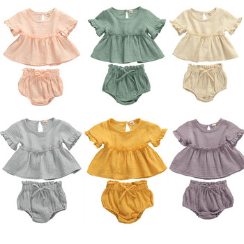 0-24M Casual Short Sleeve Tops T-shirt+Shorts Toddler Infant Outfit Set 2Pcs Fashion New Summer Newborn Baby Girls  Clothes 2pcs fashion toddler baby girls summer short sleeve tops t shirt denim hole roses floral dress skirt summer outfits clothes set