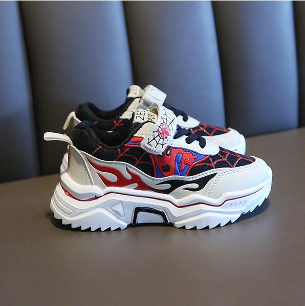 Children Boys Spiderman Sneakers Kids Cartoon Sports Shoes Boy PU Casual Boots Rubber Button Sport Shoes EUR 26-37