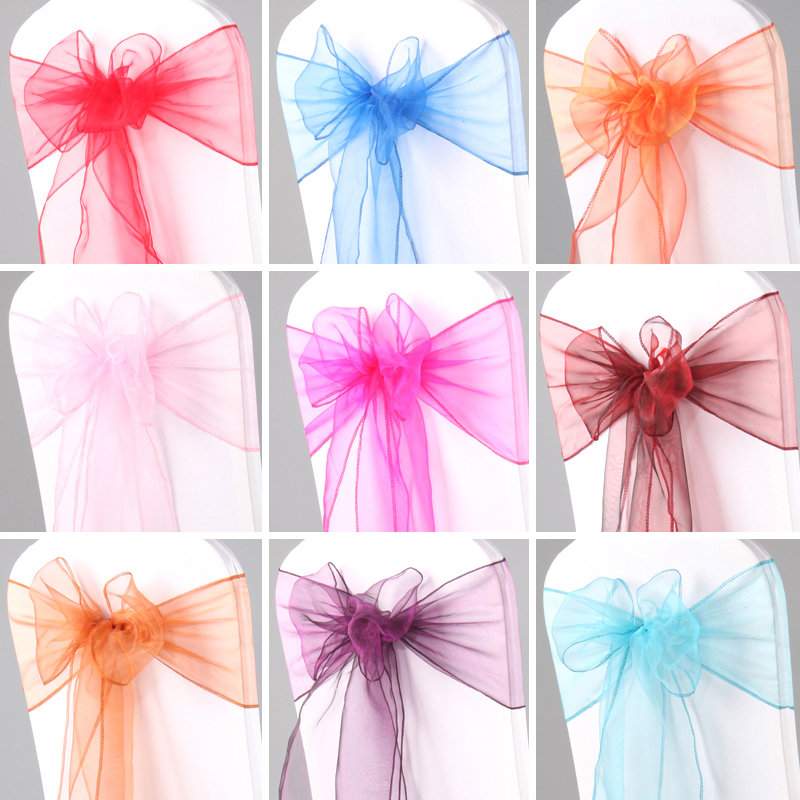 60pcs Organza Sash Wedding Chair Knot Decoration Chair Sashes Bow Wedding Party Christmas Event Banquet Chairs Decor 7*108inch