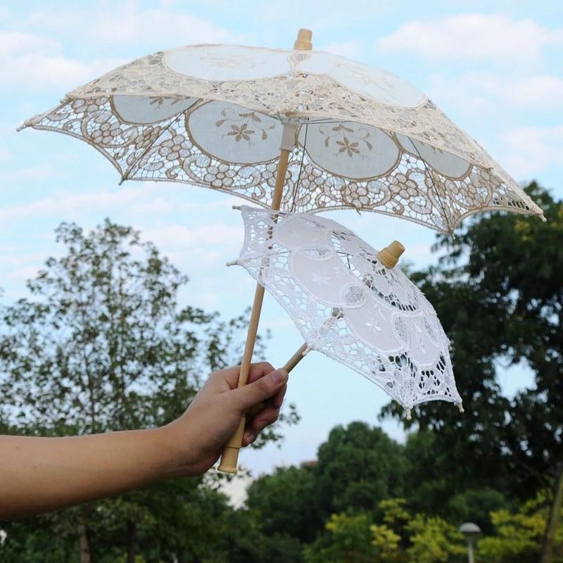 Elegant Lace Umbrella Cotton Embroidery White Battenburg Lace Parasol Umbrella Girls Umbrella for Wedding Decoration Photography