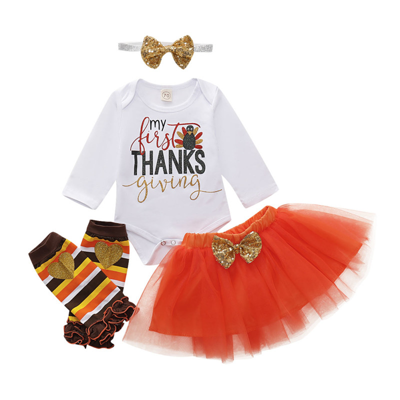US 4PCS Newborn Kid Baby Girl Outfits Clothes Tops Romper Tutu Tulle Skirts Set