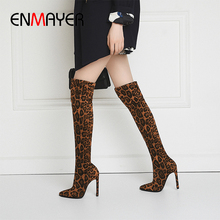 ENMAYER Leopard Print Women's Boots Flock Over-the-Knee Slip-On Pointed Toe  Woman Long Sock Boots Thin Heels Winter Boots