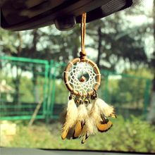 Mini Car Dream Catcher Small Pendant Handcraft Chic Hanging Ornaments Keychain Feathers Tassels Bag For Birthday Gift