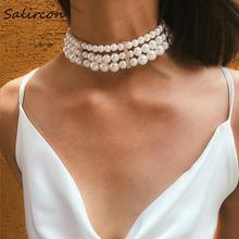 Salircon Temperament Three Layer Elliptical Imitation Pearl White Necklace Geometric Irregular Alloy Women Jewelry Gift