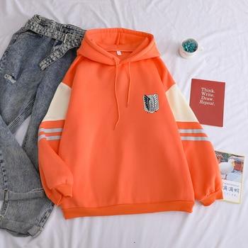 Attack on Titan Shield Printed Hoodies Autumn Winter Fleece Casual Spell Color Splicing Sweatshirt Loose Harajuku Kawaii Clothes 3