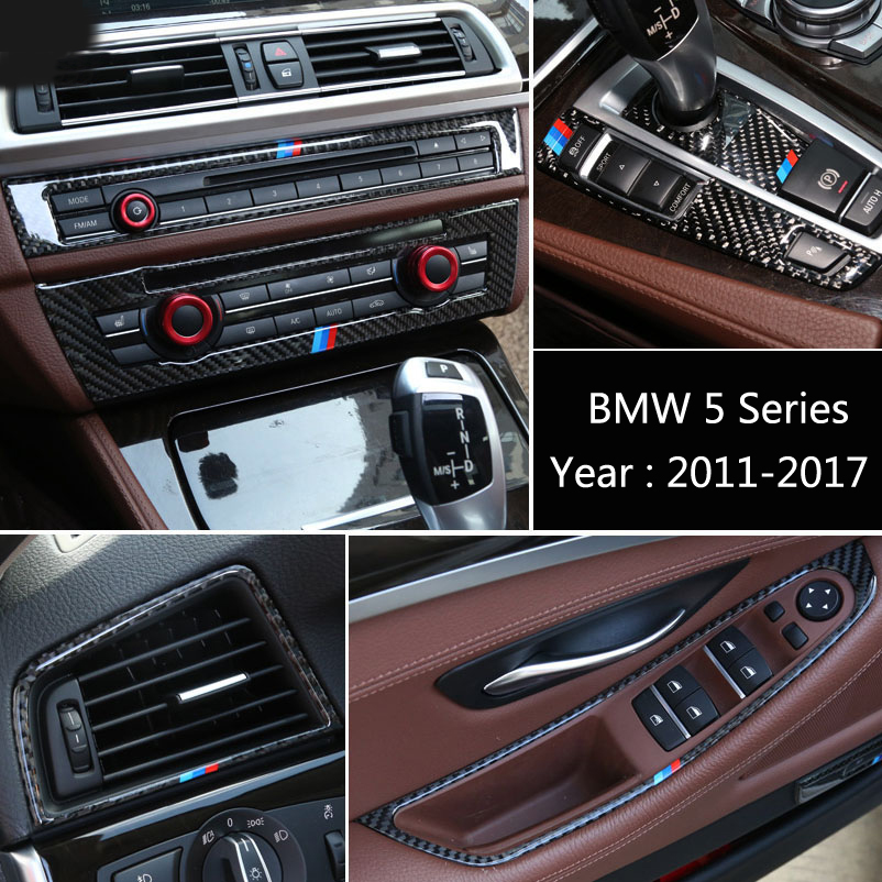 Carbon Fiber Center Console Gear Shift CD Panel Decoration Cover Trim For BMW 5 Series F10 Air Conditioning Outlet Ring Sticker