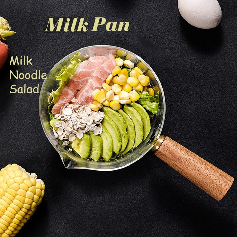 Стеклянный кастрюль для приготовления молока, мгновенный горшок для лапши, суп, кастрюли для каши, деревянная ручка, открытый пламенный наг...
