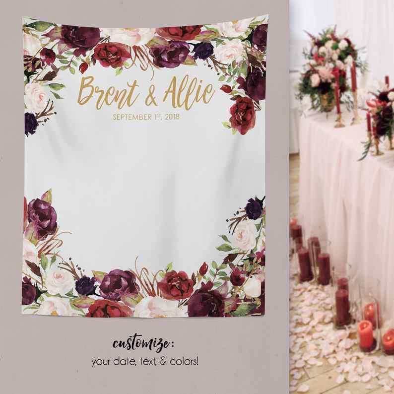 Mehofoto Wedding Fabric Banner Background Photography Flower Decor Personalized Signage Photobooth Backdrop Photocall Polyester Aliexpress