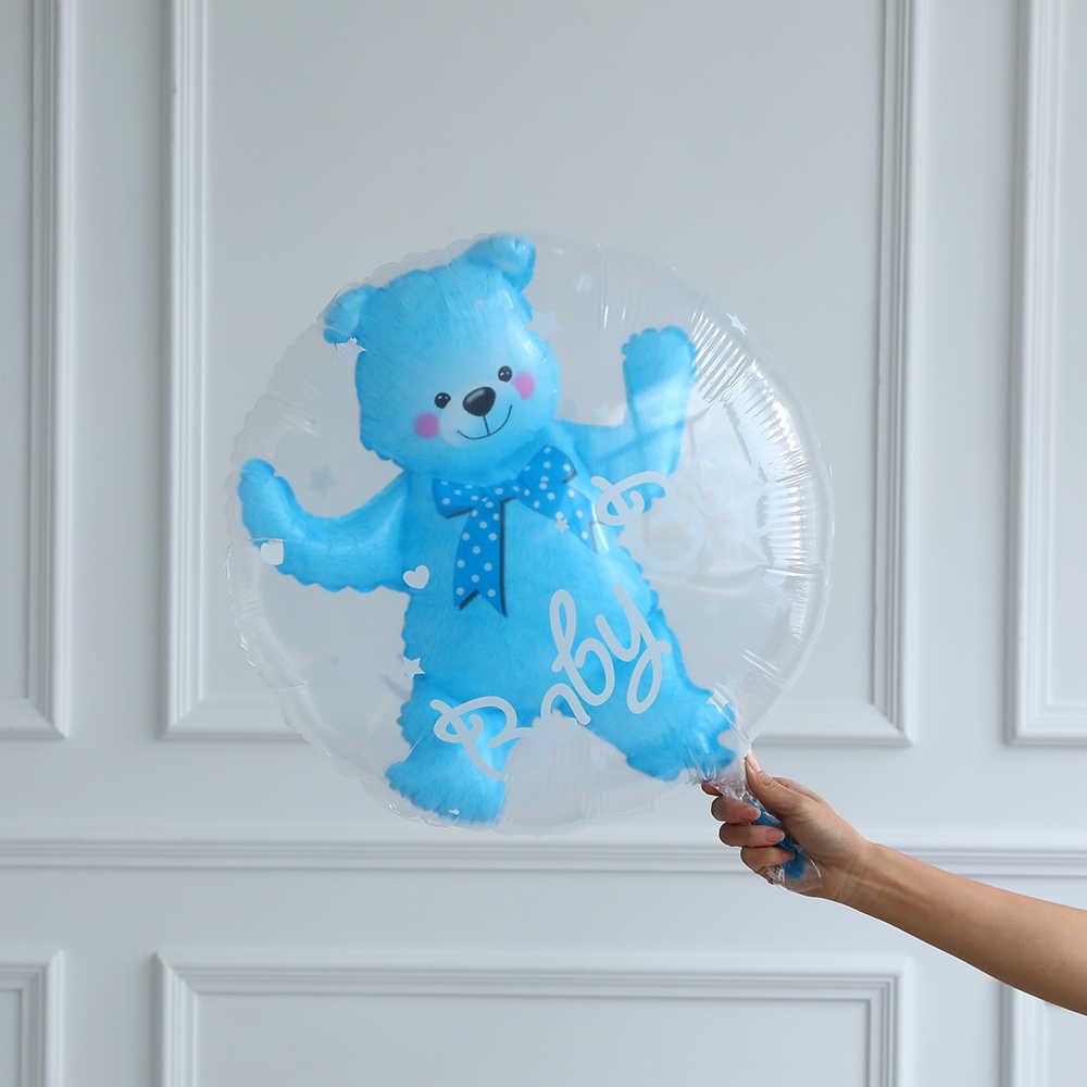 24inch Del Bambino Della Ragazza Blu Rosa della Sfera della Bolla in Palla a Sfera Orso Ragazzo 4D Orso Foglio di Palloncini Di Compleanno Baby Shower decorazioni Per Bambini Giocattoli