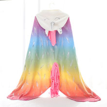 Rainbow Unicorn Wrap Flannel Blanket With Tassels Pockets Thicken Coral Fleece Children Throw Blanket Portable Women Blankets(China)