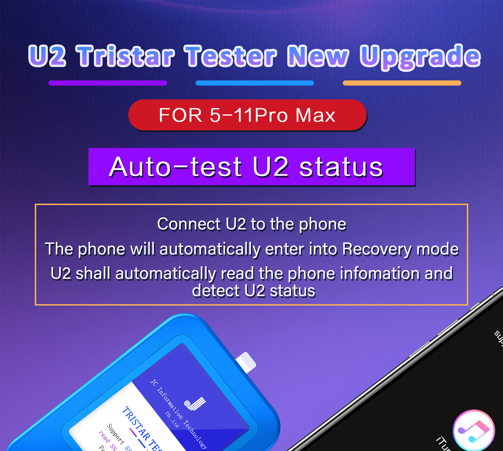 JC Detector Chip Status for U2 Auto-test Detector Serial Tristar Number Fast U2 iPhone U2 Charge Max fault Reader Tester 5-11Pro