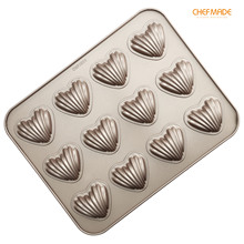 CHEFMADE Madeleine Cake Mold, 12-Cavity Non-Stick Heart-Shaped Scallop Madeline Pan, FDA Approved
