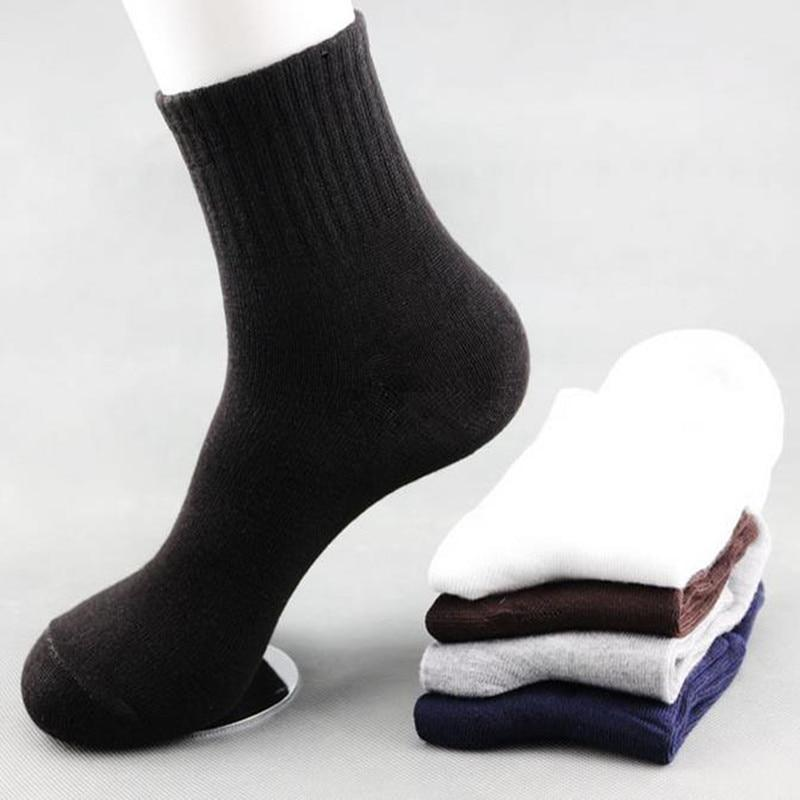 5Pair/lot Solid Color Plate In The Tube Socks Autumn And Winter Men's Cotton Socks