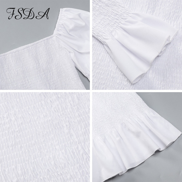 FSDA Square Neck Ruched Crop Top Long Puff Sleeve Summer Autumn Ruffles White Sexy T Shirt Backless Top Shirts Sexy