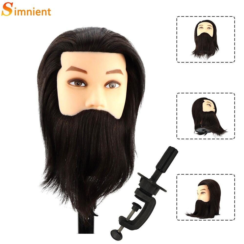 Simnient мужской манекен головы с 100% по-настоящему человеческие волосы для практики Парикмахерская обучение косметологии куклы голова для вол...