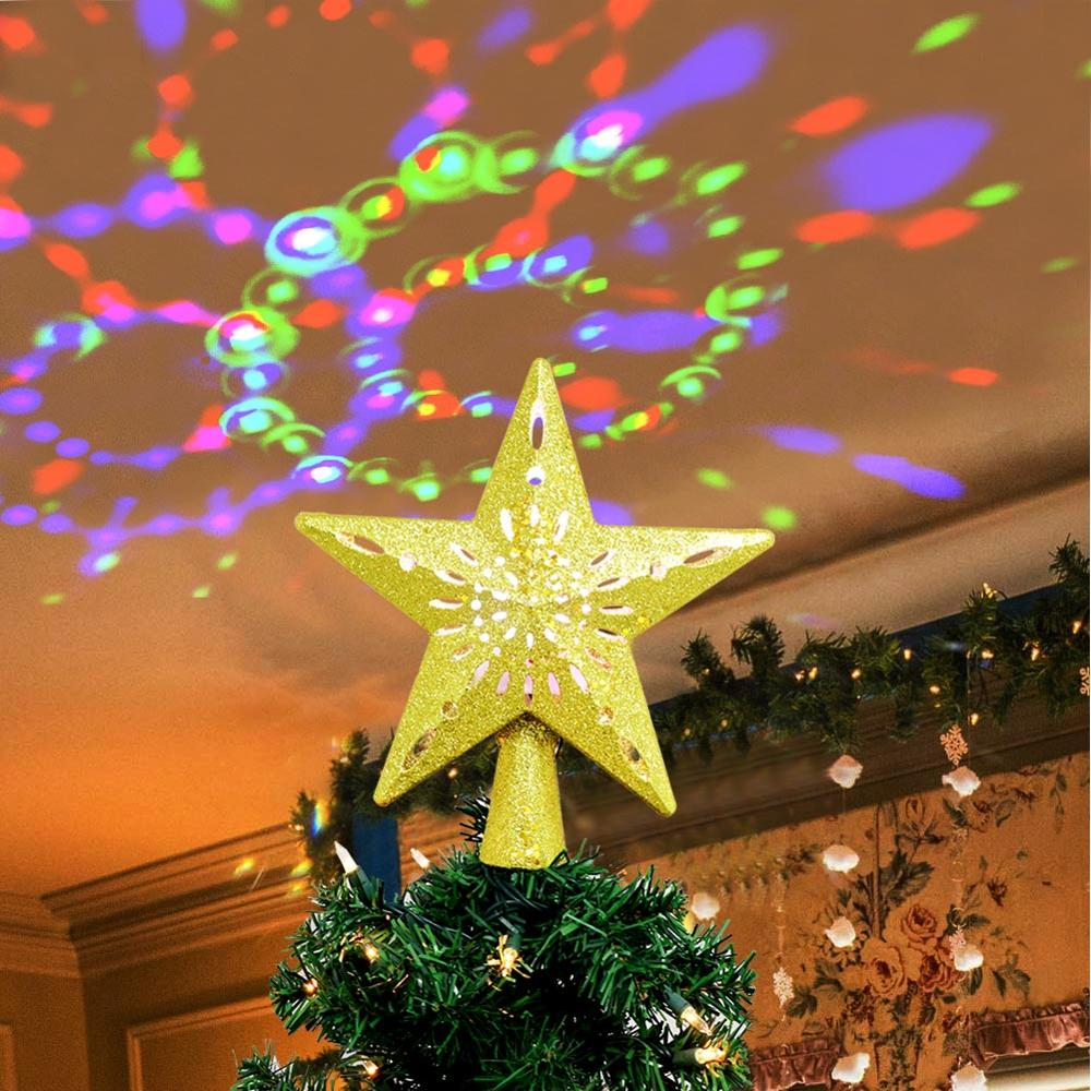 "Holiday Time Warm White LED Christmas Tree Topper Sparkle Indoor Decor 11/"" NEW"