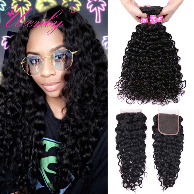 $ US $46.50 UEENLY Brazilian Water Wave Bundles With Closure M Remy Human Hair Bundles With Closure 3 Bundles With Closure