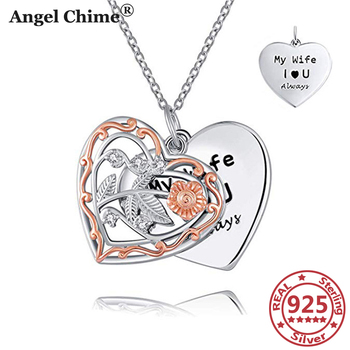 AC 925 Sterling Silver Heart Pendant Necklaces Vintage Hollow Two Layers Woman's Jewelry Valentine's Day Gifts Anniversary Gifts