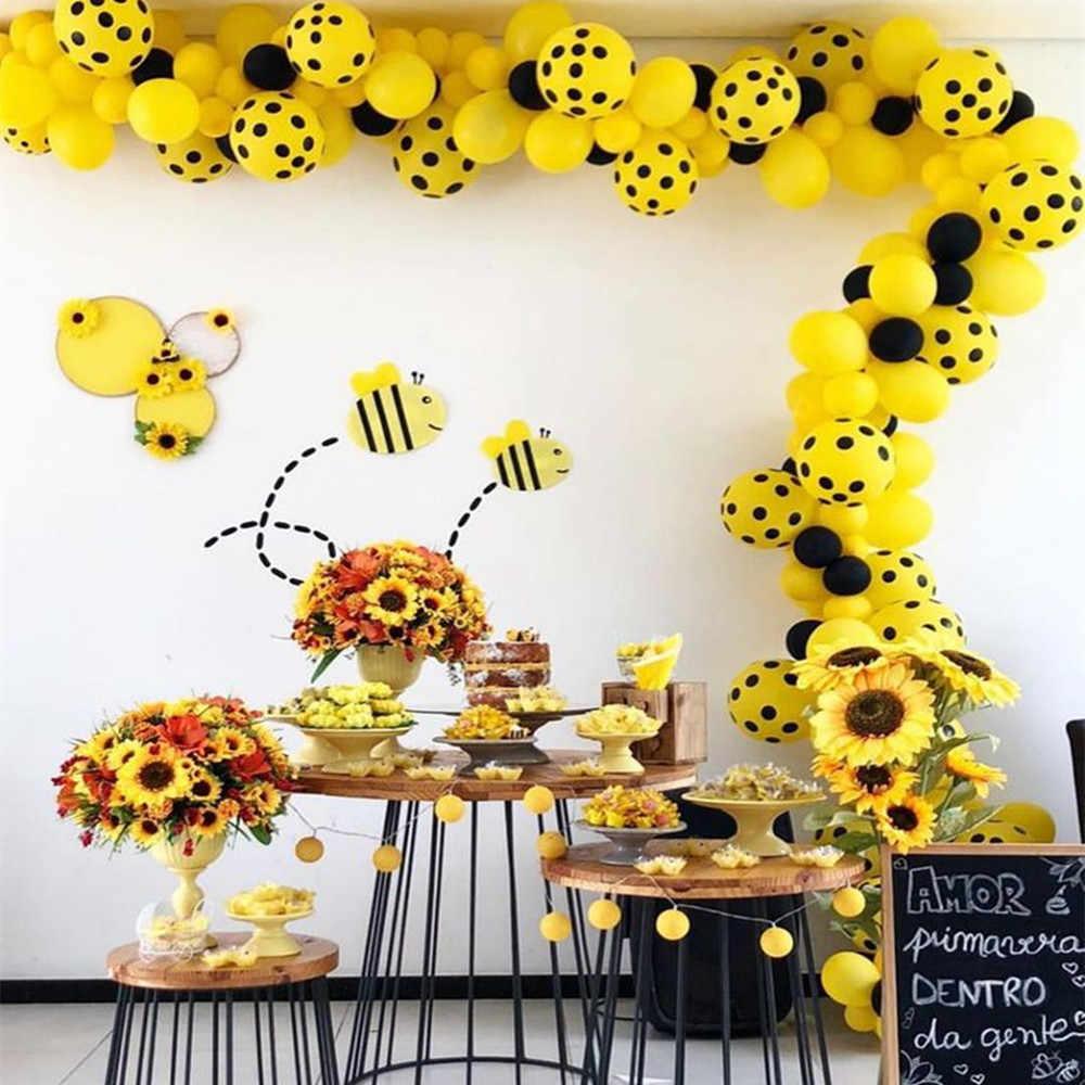122pcs bee theme party 12inch yellow dot arch balloon garland kit 5inch black balloon baby shower kids bee birthday party decor