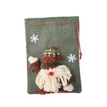 Christmas Stocking Linen Cloth Gift Bags Cartoon Drawstring Treat Holders