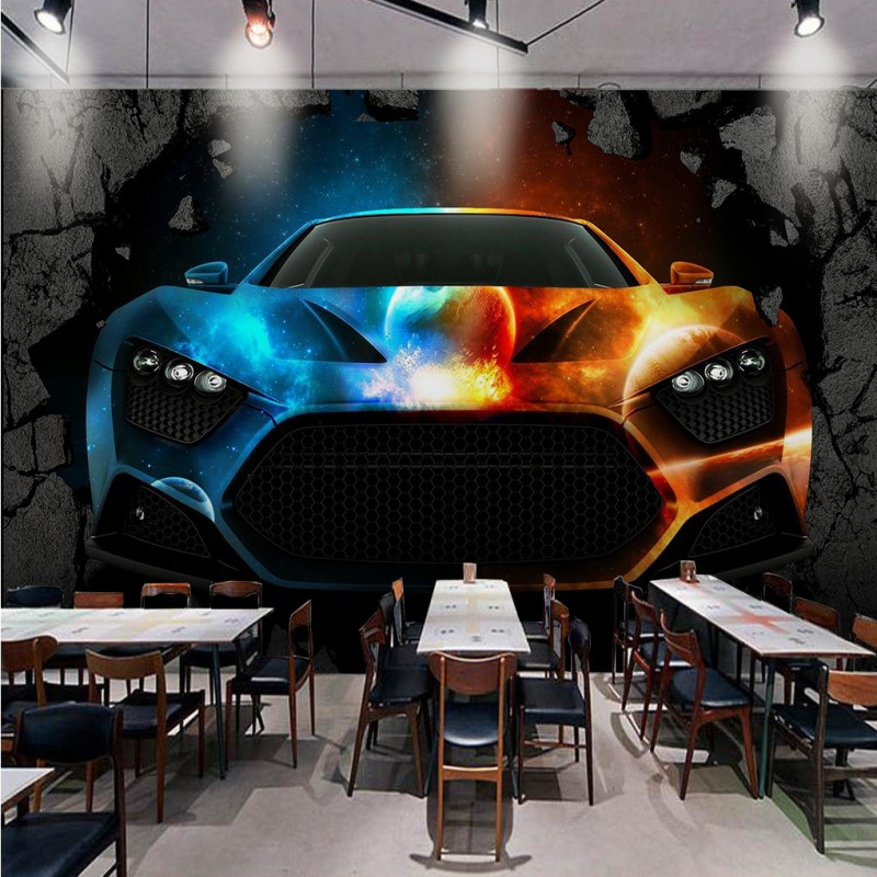 Drop Shipping Custom Photo Wallpaper 3D Stereo Wallpaper Bar KTV Cool Car Broken Wall Wallpaper Lobby Office Living Room Mural