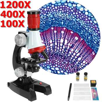 Kit de microscopio LED de laboratorio 1200X, ciencia escolar en casa, juguete para regalo educativo, microscopio biológico refinado para niños