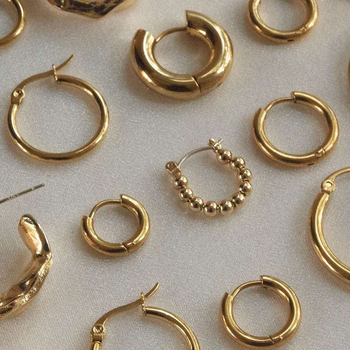 Classic Stainless Steel Ear Buckle for Women Trendy Gold Color Small Large Circle Hoop Earrings Punk Hip Hop Jewelry Accessories 2