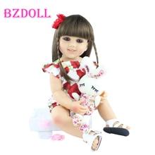 55cm Ful Silicone Reborn Baby Girl Doll Toys Like Real Long Hair Princess Babies Dress Up Boneca Kid Birthday Present Gift