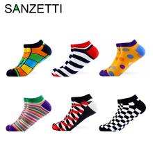 все цены на SANZETTI 6 Pairs/Lot Men Summer Novelty Ankle Socks Casual Combed Cotton Socks Colorful Plaid Animal Pattern Happy Boat Socks