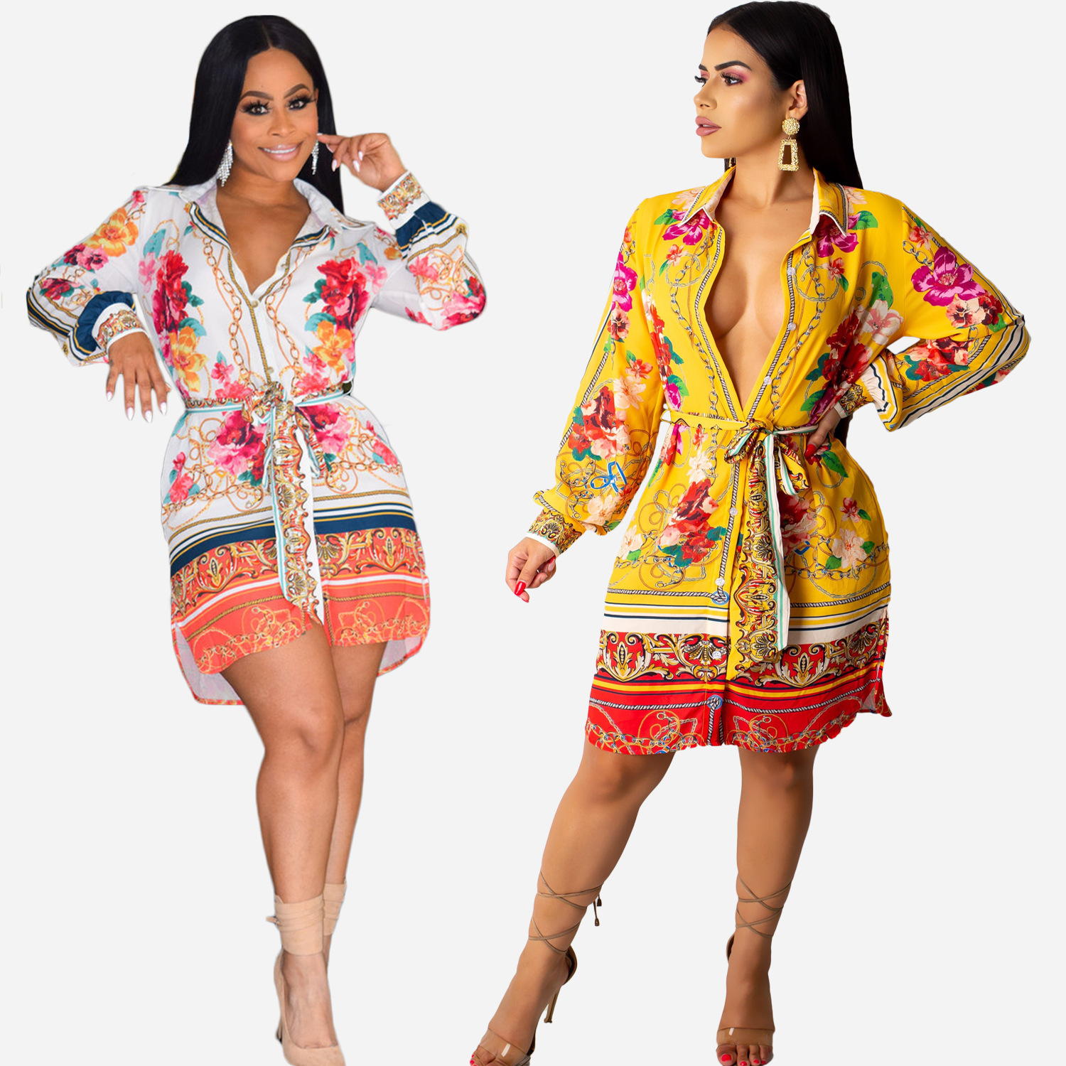 The new autumn/winter 2019 cross-border African ethnic style sexy European and American women's women's long shirt fashion posit thumbnail