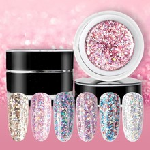 Beautilux 1pc Dazzling Sparkling Rainbow Nail Gel Polish Soak Off UV LED Nails Art Glitter Bling Rose Gold Silver Gel Polish 10g