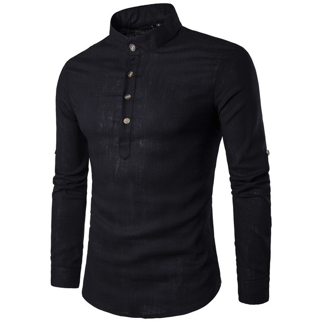 ZOGAA Men Long Sleeve Clothing Shirts Men's Business Undershirt Mens Smart Casual Stand Collar Slim Pure Color Top Dress Shirts 5