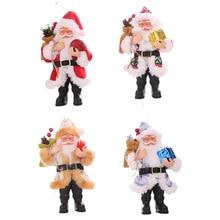 Xmas Christmas decorations Resin Santa Claus ornaments Standing small doll ornaments pendant Christmas decorations 2019 home sketch small picture mini resin plaster ornaments small head 6 7 cm tall 10 pcs set