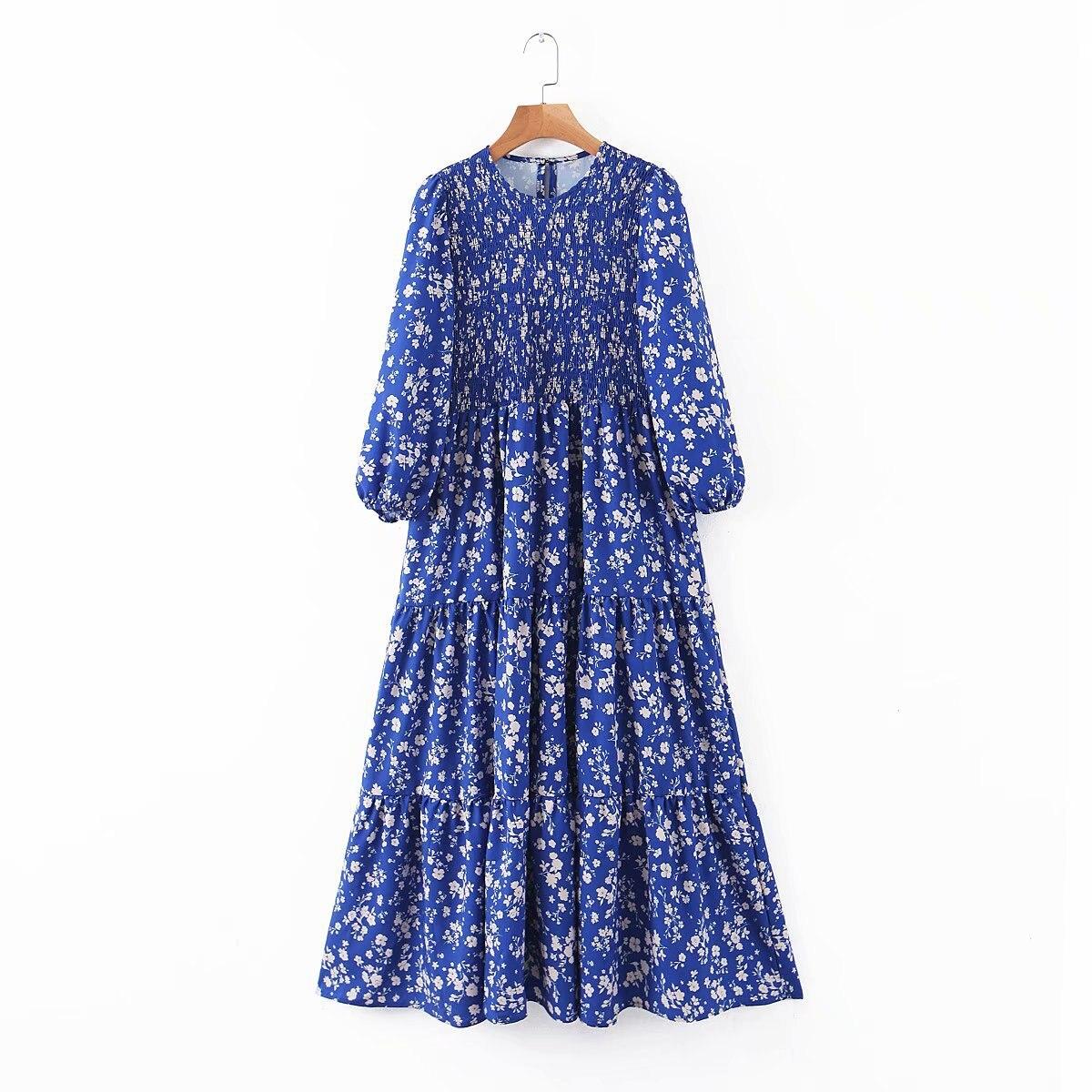 2020 New Spring Summer European Blue Floral Printed Zaraing Women Dress Vadiming Sheining Female Streetwear Dress XDL2613