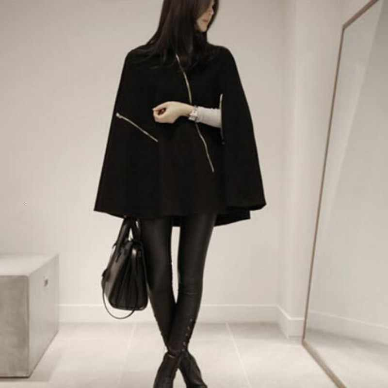 2020 Korea Merek Fashion Baru Wanita Kerah Berdiri Campuran Wol Mantel Wanita Longgar Menebal Jubah Cape Mantel Jaket Ukuran S-XL