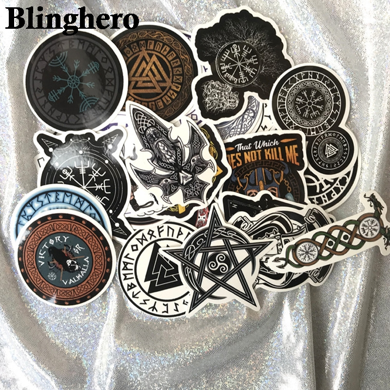Купить с кэшбэком CA706 50pcs/set Viking vintage Pvc Waterproof Stickers For diy scrapbooking decals Luggage Skateboard Phone Laptop Bicycle Wall