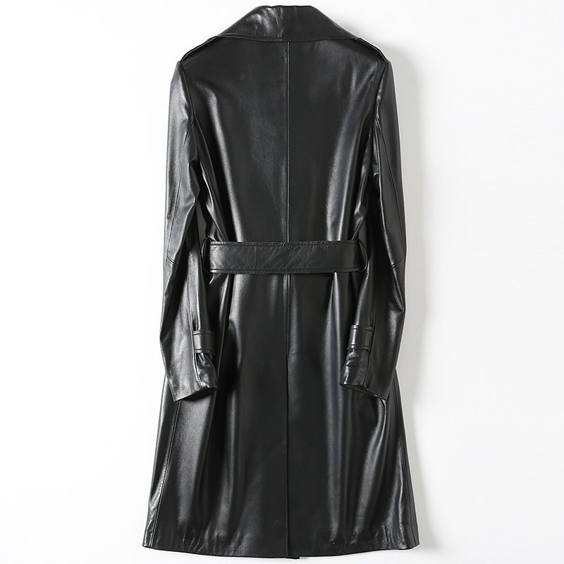 Genuine Leather Jacket Women Real Leather Long Outwear Double Breasted Belt Spring Natural Sheepskin Coat Female LWL1432