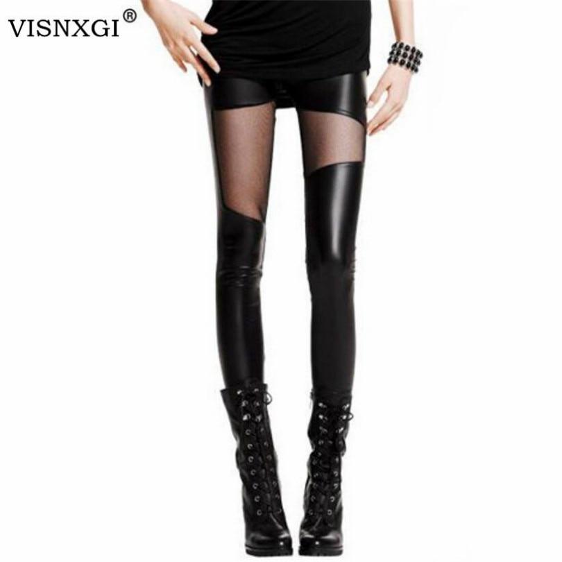 VISNXGI Knitting Women Leggings Black Faux Leather Splicing Mesh Punk Skinny Leggings Elasticity And Good Quality Sexy Legging