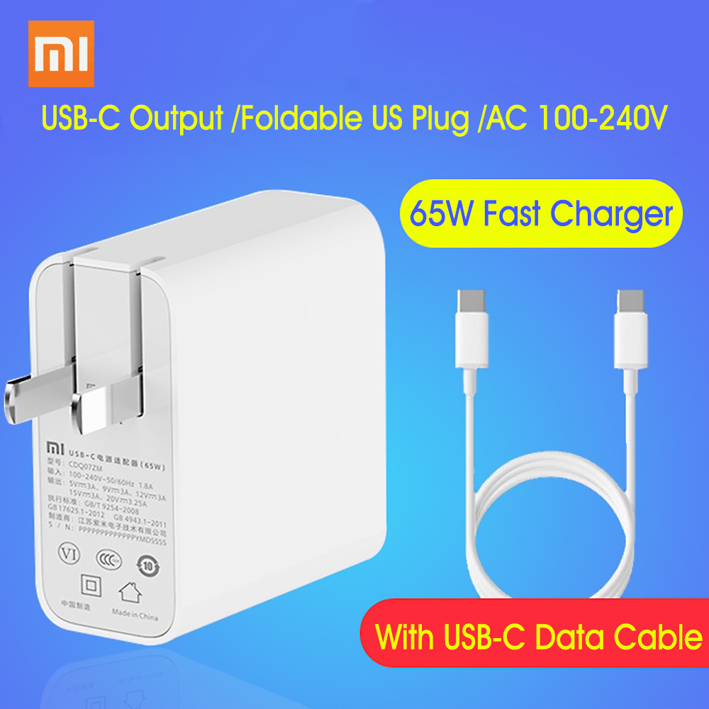 Xiaomi USB C Charger 65W Power Adapter With US Plug Mini Portable  Wall Travel Charger 100 240V For Phone Laptop NotebookMobile Phone  Chargers