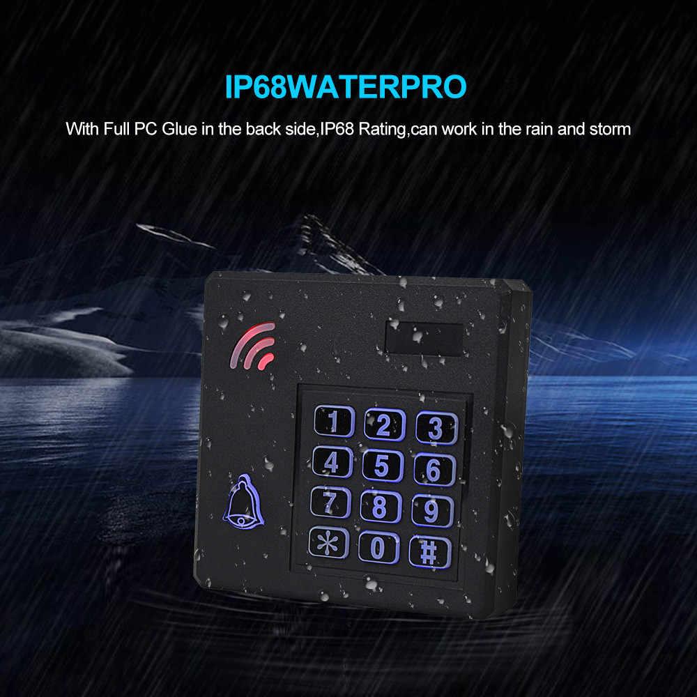 Sistem Akses Kontrol Kit 125 K Hz IP68 Tahan Air RFID Keypad Logam Papan + Listrik Kunci + Pintu Keluar Switch Power supply Outdoor