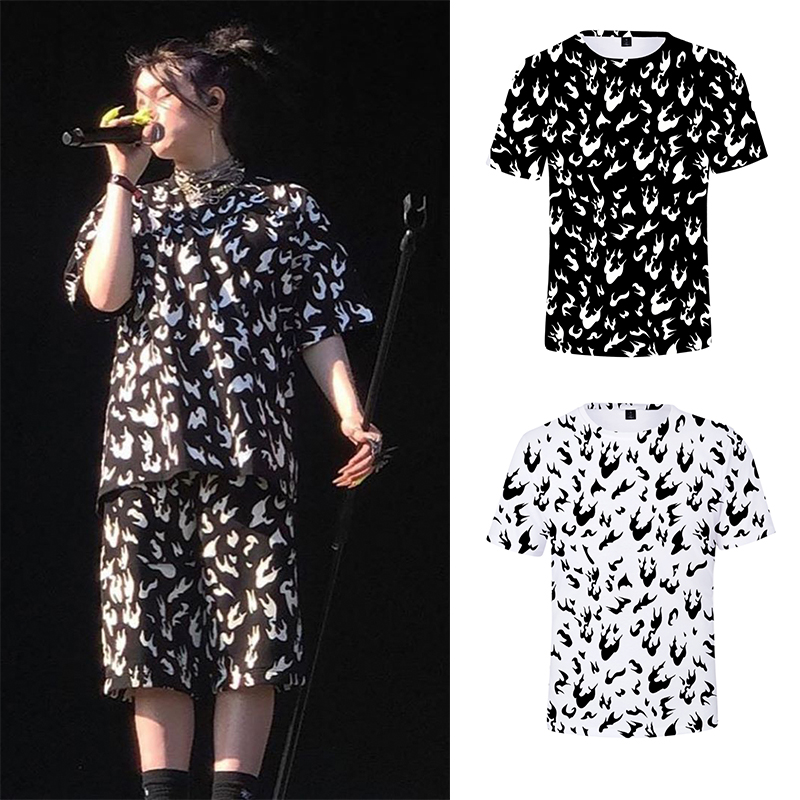 Billie Eilish T Shirt Men And Women Hiphop Streetwear White Fire And Black Summer Shirt Clothes Harajuku