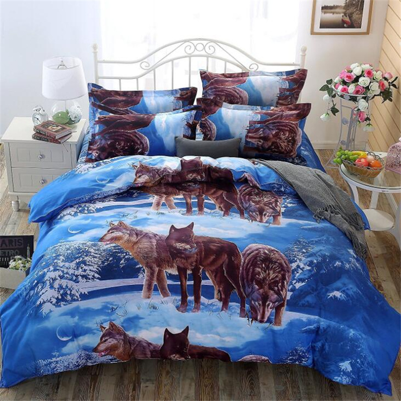 Amazon Hot Sales Bedding Four Sets Wolf 3D Bedding Article Europe And America Three-piece Set Textile A Generation Of Fat