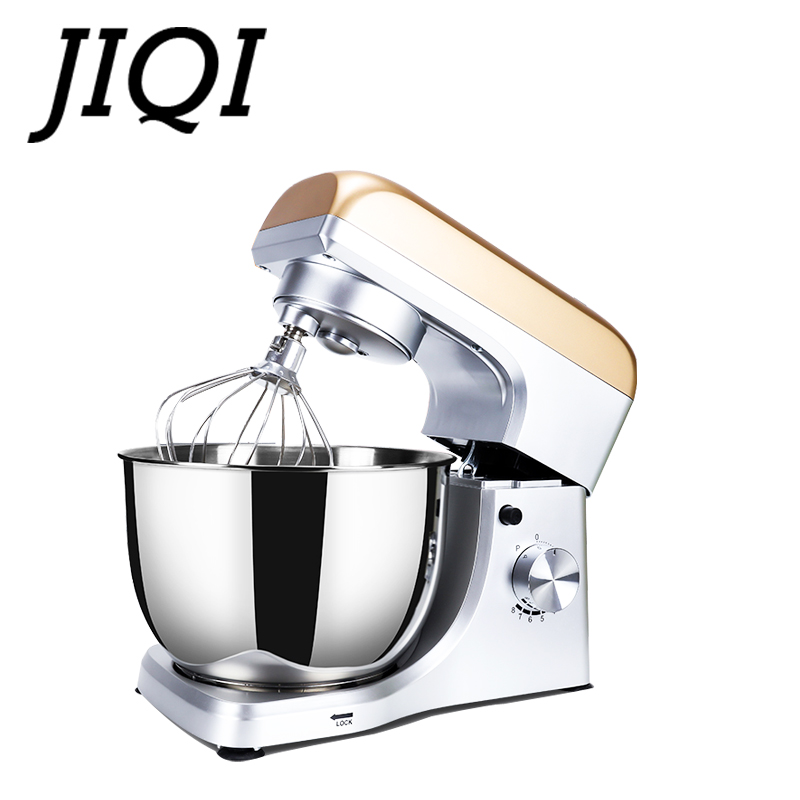JIQI Stainless Steel Electric Chef Stand Food Mixer Automatic Whisk Eggs Beater Cream Blender Cake Bread Dough Kneading Machine